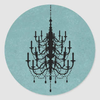 Black and Teal Chandelier Wedding Seal Classic Round Sticker