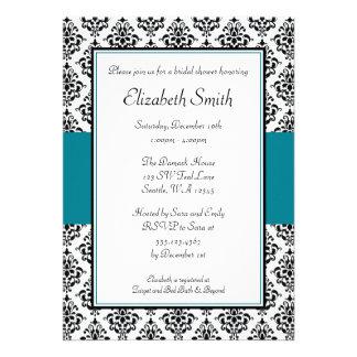 Black and Teal Damask Bridal Shower Invitation
