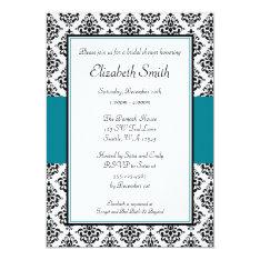 Black And Teal Damask Bridal Shower Invitation at Zazzle
