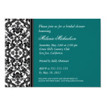 Black and Teal Damask Bridal Shower Invitation