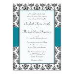 Black and Teal Damask Wedding Invitations