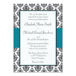 "Black and Teal Damask Wedding Invitations 5"" X 7"" Invitation Card"