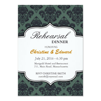Black and Teal Damask Wedding Rehearsal Dinner Card