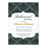 Black and Teal Damask Wedding Rehearsal Dinner Announcement