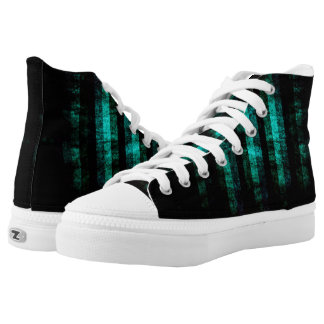 Black and Teal Distressed Striped Zipz High Tops Printed Shoes