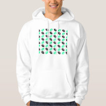 Black and Teal Football Pattern Hoodie