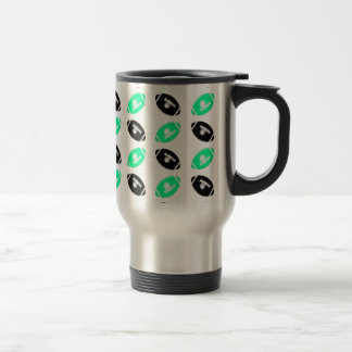 Black and Teal Football Pattern 15 Oz Stainless Steel Travel Mug