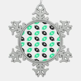 Black and Teal Football Pattern Ornament