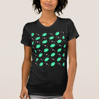 Black and Teal Football Pattern T-Shirt