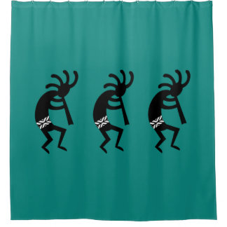 Black And Teal Kokopelli Southwestern Design Shower Curtain