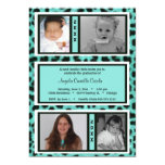 Black and Teal Leopard Photo Graduation Invite