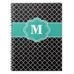 Black and Teal Quatrefoil Monoagram Note Book