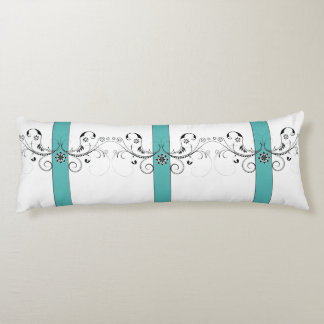 Black and Teal Ribbon and Swirls Body Pillow