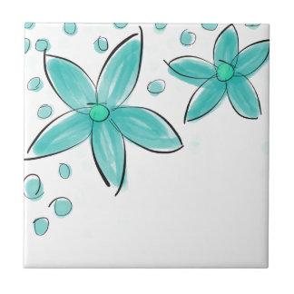 Black and Teal Watercolor Flower Polka Dot Sketch Ceramic Tile