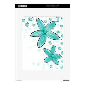 Black and Teal Watercolor Flower Polka Dot Sketch Decal For The iPad