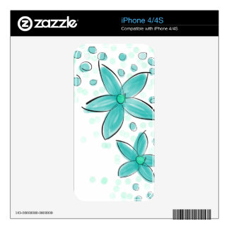 Black and Teal Watercolor Flower Polka Dot Sketch Decal For The iPhone 4