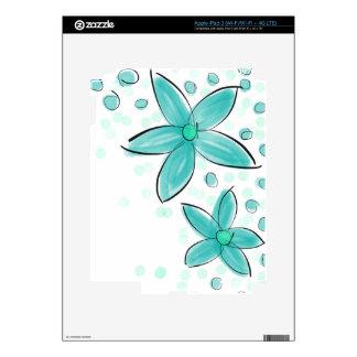 Black and Teal Watercolor Flower Polka Dot Sketch iPad 3 Skins