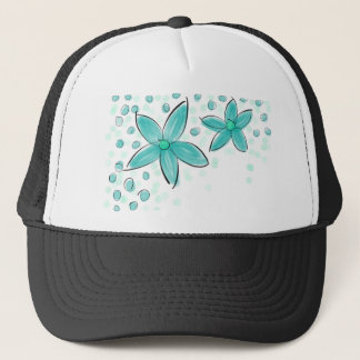 Black and Teal Watercolor Flower Polka Dot Sketch Trucker Hat