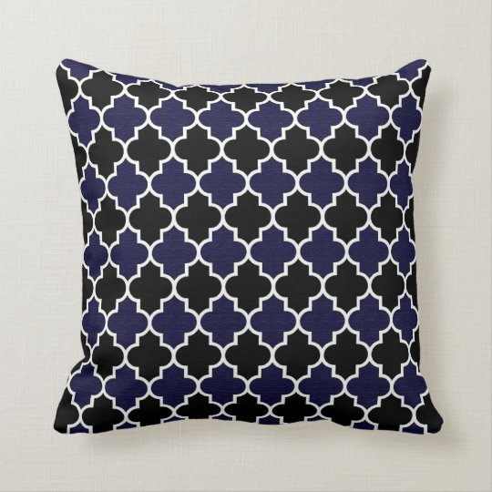 Black and Textured Navy Blue Quatrefoil Decorative Throw Pillow Zazzle