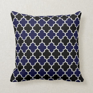 Black and Textured Navy Blue Quatrefoil Decorative Throw Pillow