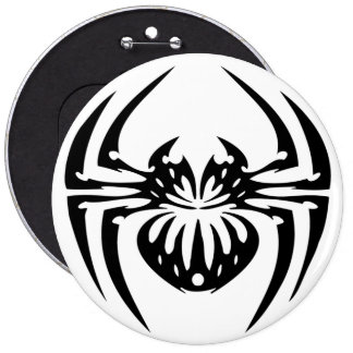 Black and Tribal Spider Pinback Button