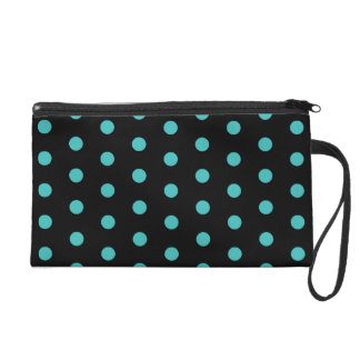 Black and Turquoise Blue Polkadots Pattern Wristlet Purse