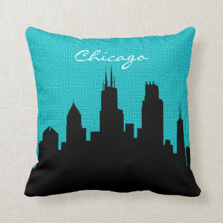Black and Turquoise Burlap Chicago Skyline Print Throw Pillow