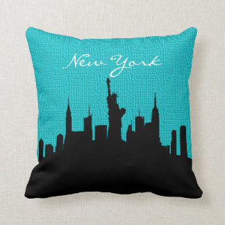 Black and Turquoise Burlap New York Skyline Print Throw Pillow