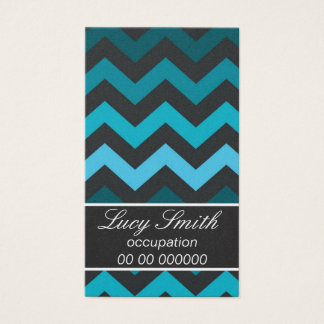 Black and Turquoise Chevron Business Card