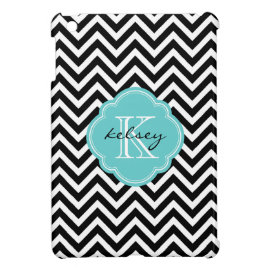 Black and Turquoise Chevron Custom Monogram iPad Mini Covers