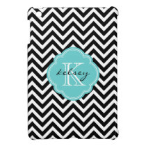 Black and Turquoise Chevron Custom Monogram iPad Mini Cover