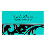 Black and Turquoise Damask Business Card