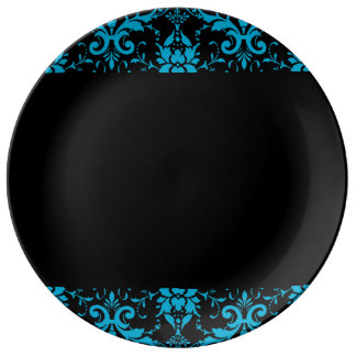 Black and Turquoise Damask Matching Kitchen Dinner Plate