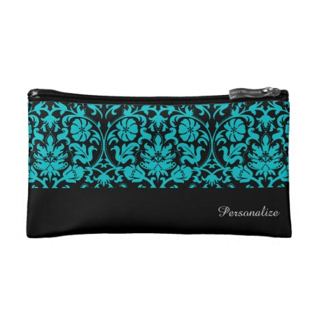 Black and Turquoise Damask Pattern | Personalize Makeup Bag