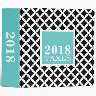 Black and Turquoise Diamonds Tax File Storage Binder