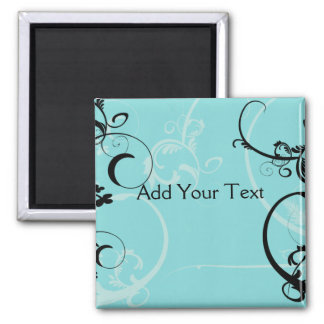 Black and Turquoise Floral 2 Inch Square Magnet
