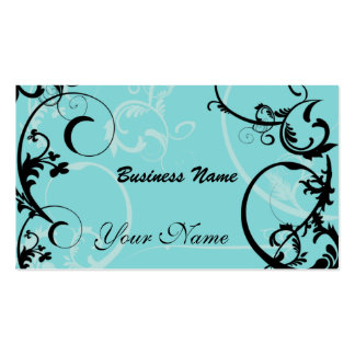 Black and Turquoise Floral Business Card