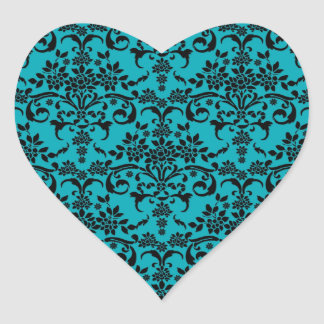 Black and Turquoise Floral Damask Pattern Heart Sticker