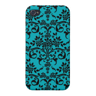 Black and Turquoise Floral Damask Pattern Case For iPhone 4