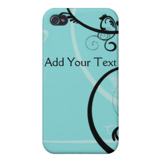 Black and Turquoise Floral Covers For iPhone 4