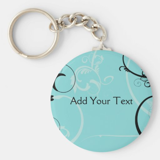 Black and Turquoise Floral Keychain