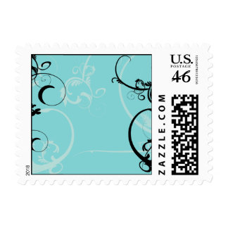 Black and Turquoise Floral Postage Stamp