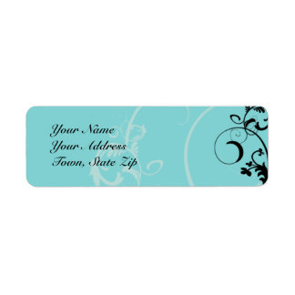 Black and Turquoise Floral Scroll Return Address Label