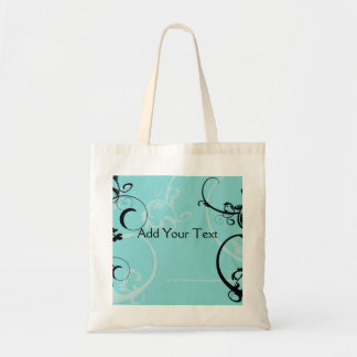 Black and Turquoise Floral Tote Bag