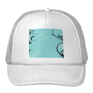 Black and Turquoise Floral Trucker Hat