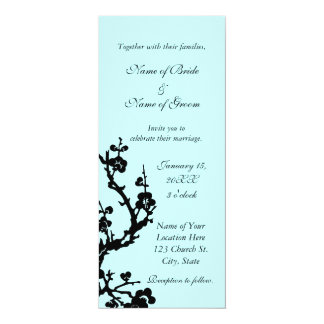 Black and Turquoise Floral Wedding Invitations