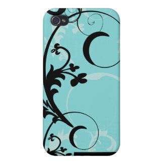 Black and Turquoise Flourish iPhone4 Cover Case For iPhone 4