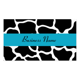 Black and Turquoise Giraffe Business Card