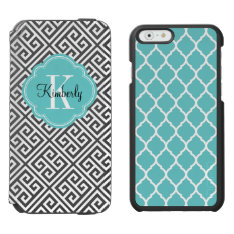 Black And Turquoise Greek Key Monogram Iphone 6/6s Wallet Case at Zazzle