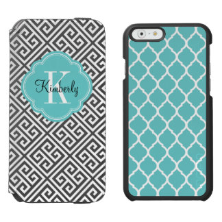 Black and Turquoise Greek Key Monogram iPhone 6/6s Wallet Case